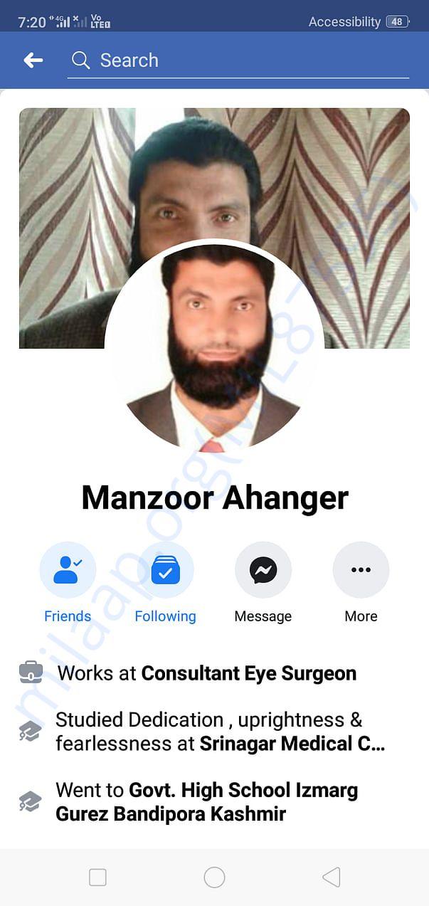 Advisor to DAK,senior Eye surgeon Dr Manzoor Ahanger