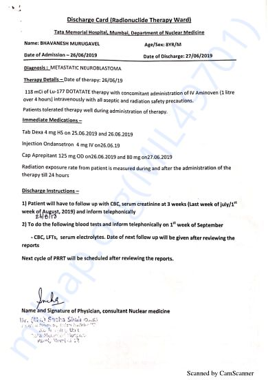 third Cycle Discharge Summary(Tata Memorial Hospital)