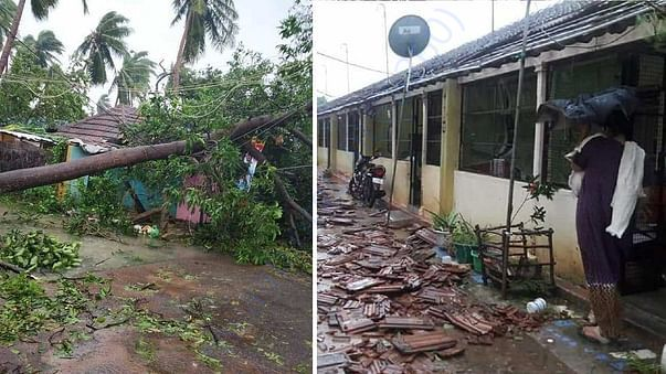 Rebuild houses and replant coconut trees in GAJA cyclone @ Thanjavur