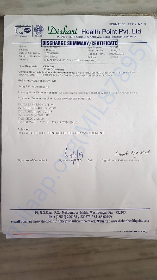 DISCHARGE SUMMERY CERTIFICATE FROM DISHARI FOR BETTER TREATMENT