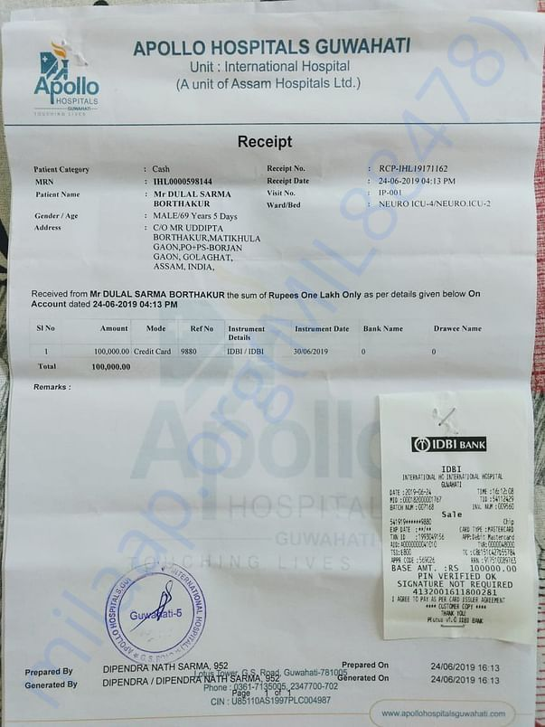 Payment slip..much more documents are with hospital custody