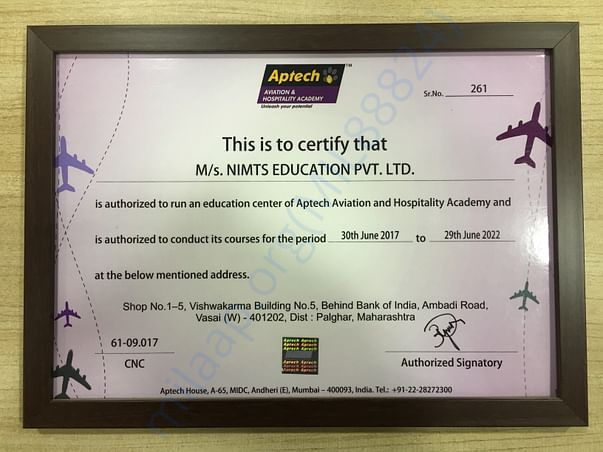Aptech Aviation training authorisation certificates