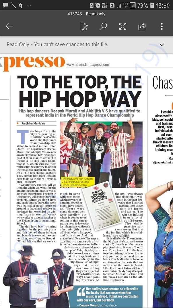 Featured in Indian Express