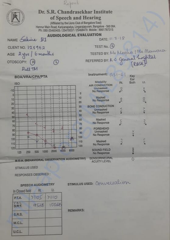 Hearing therapy report