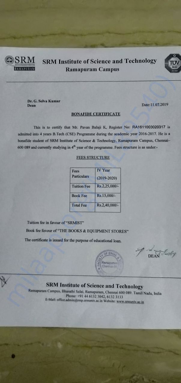 Fee structure  to be provided