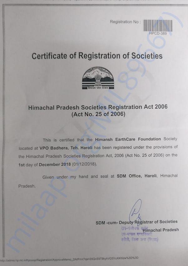 Himansh Earthcare Foundation Certificate of Registration