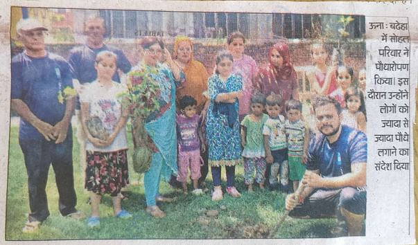 Newspaper clipping of plantation drive