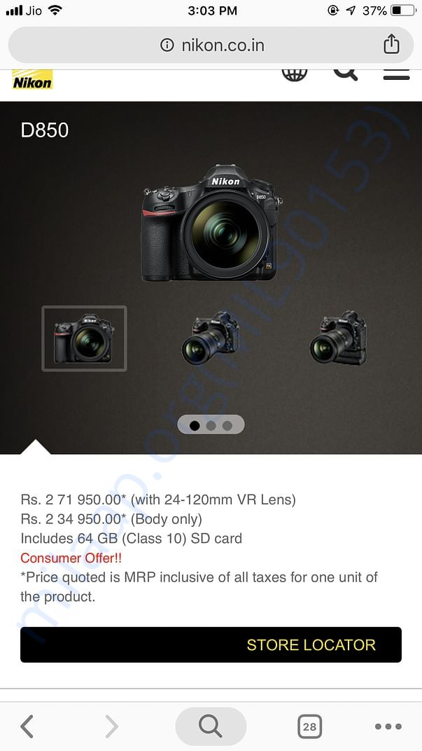 This is Camera cost from official website of Nikon