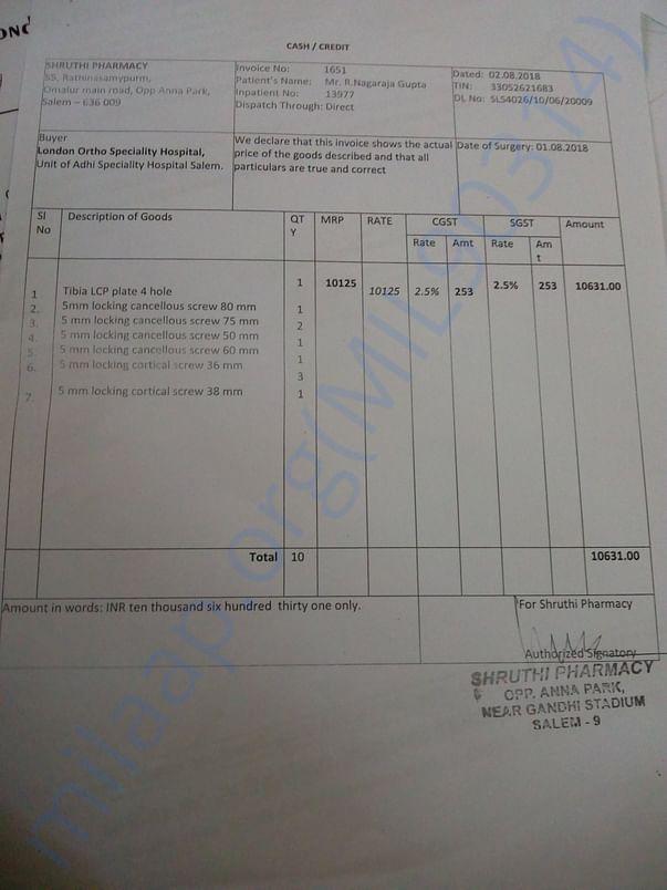 Pharmacy bills