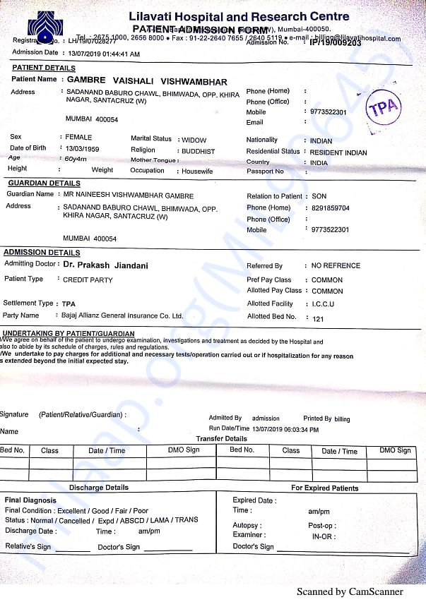 lilavati admission form