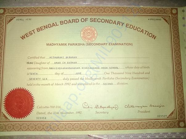 This is my Madhymik pass Certificate Please see this.