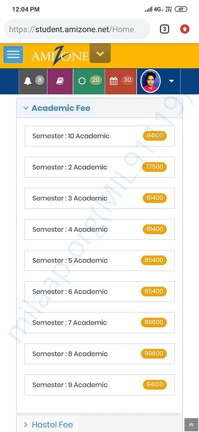 Academic Fee Structure