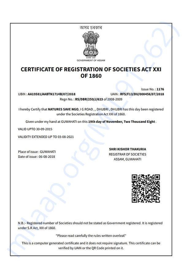 Registration copy of the NGO