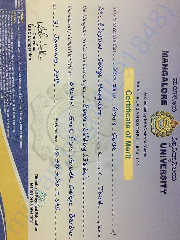 Mangalore university secured Bronze medal