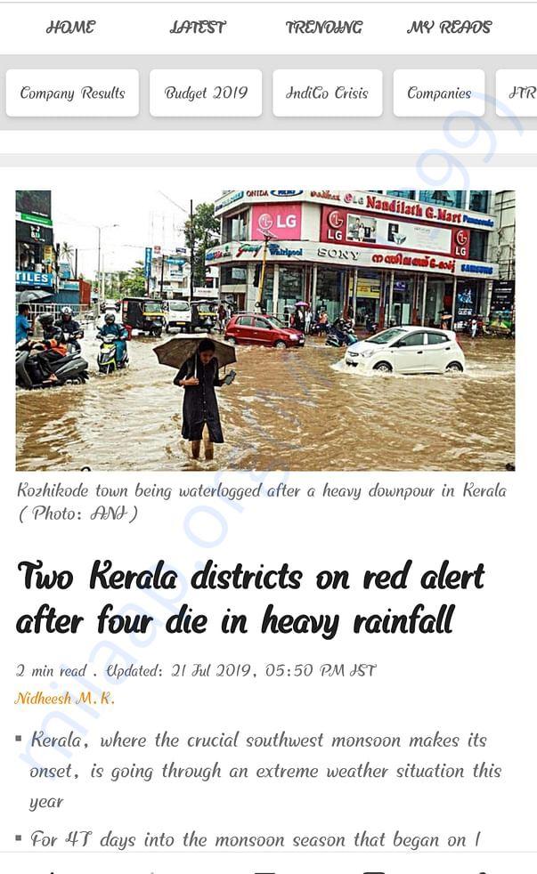 Heavy Rains hits in Kerala