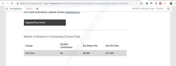 Fees for masters course in DCU