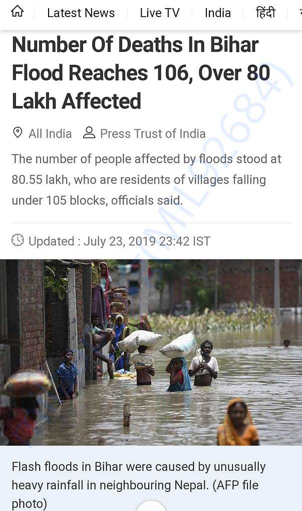 Total number victims who have suffered because of the flood