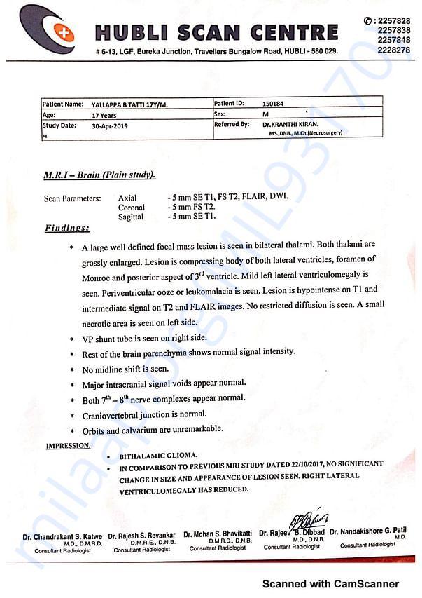 CT SCAN Report Hubli