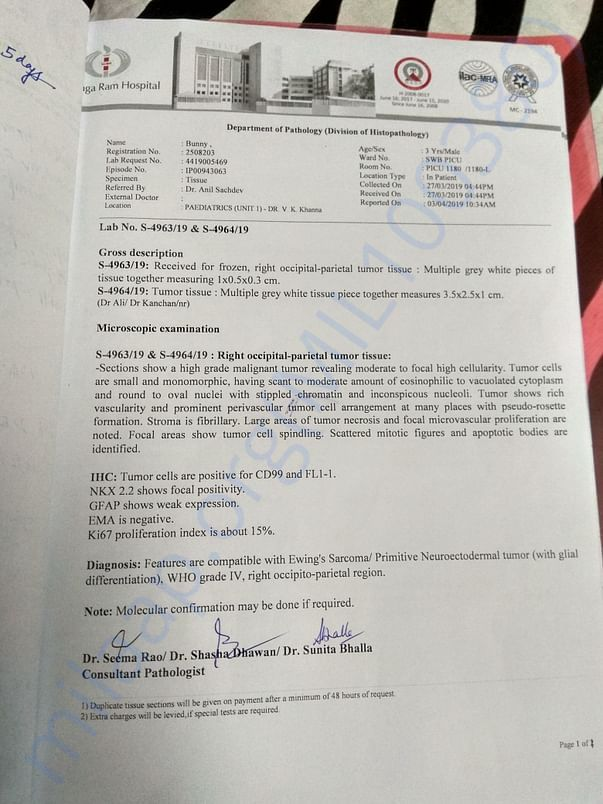 Biopsy report,, proof of cancerous tumour