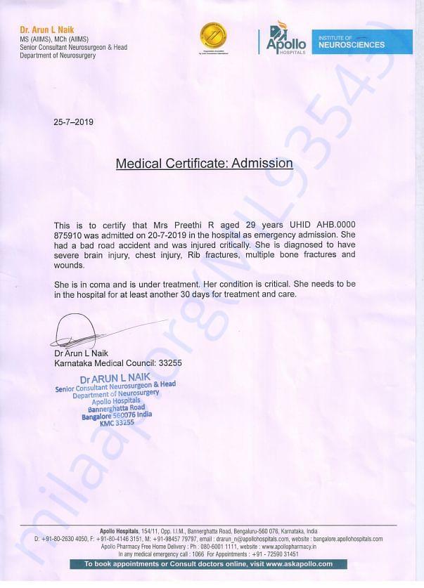 Apollo Hospital Neurosurgery Head doctor letter