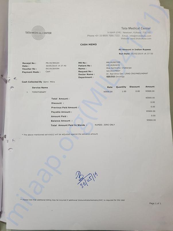 Tata medical bill 1