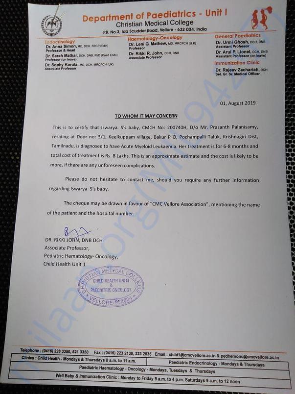 Hospital Bonafide Certificate