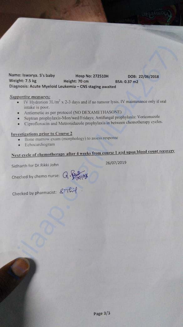 Medical test results chemotherapy