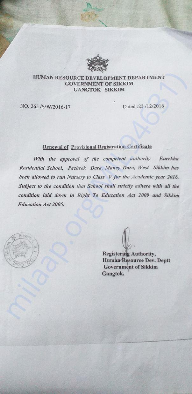 Registration Certificate of the School