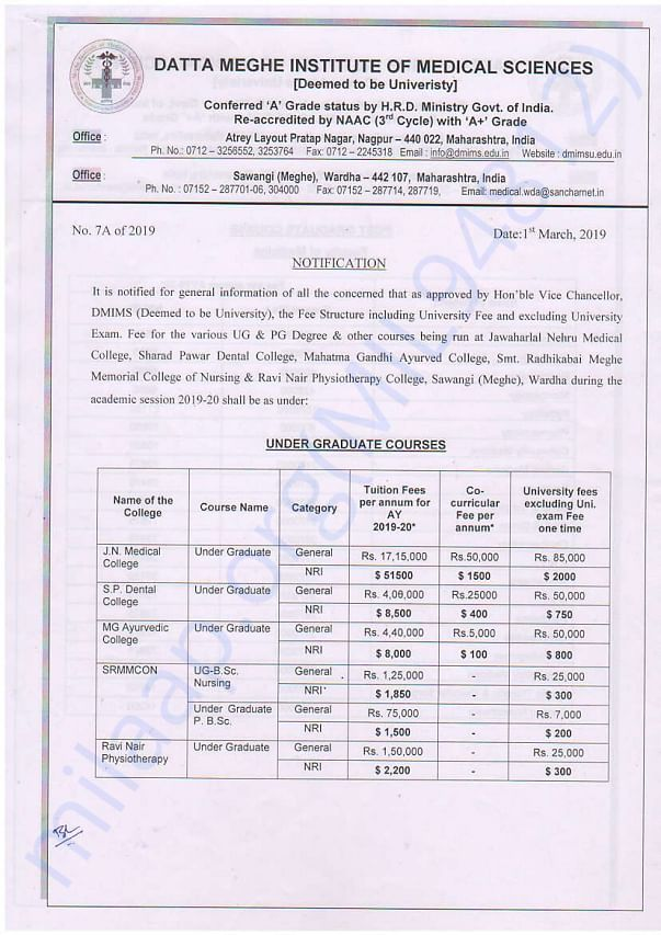 Fee structure of my Fees for MBBS course For year 2019-20.