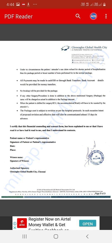Financial Conultation & Concent Form for Lung Transplant