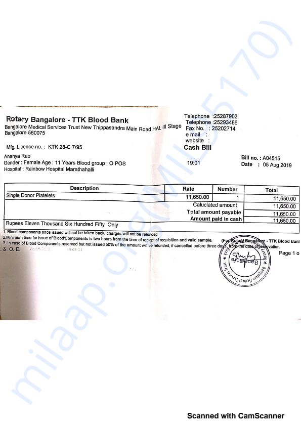 Blood Bank Receipt