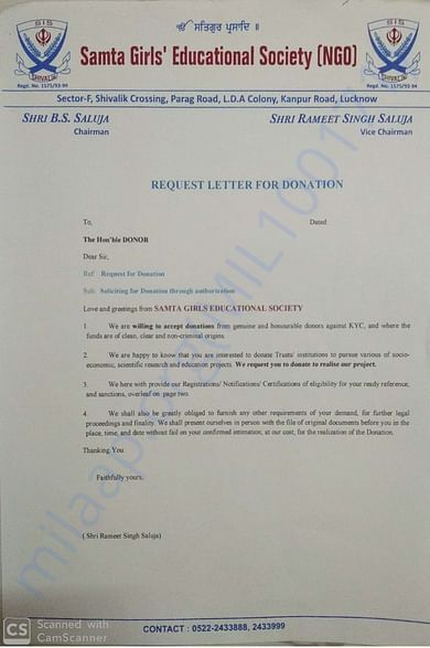 Request Letter for Donations