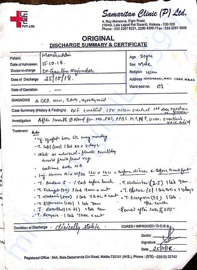 Date of admission and discharge from samaritan clinic (P.)LIT.