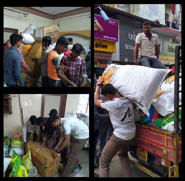 Tireless efforts of YUVAAN volunteers to collect essential material