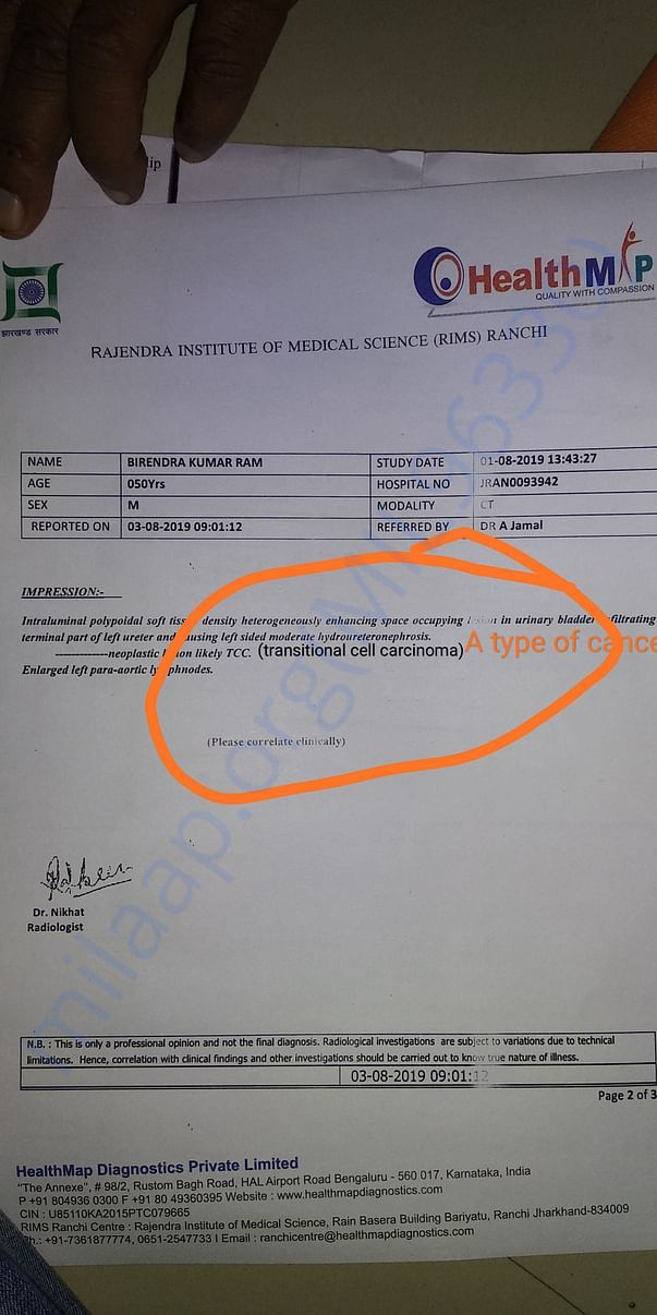 CT scan report of abdomen