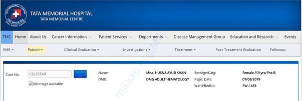 Tata Memorial Hospital Case number