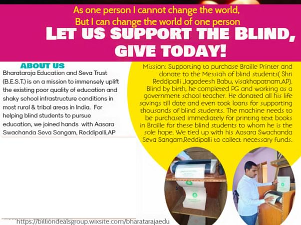 Help Buy Braille Printer To Print&donate Text Books For Blind Students