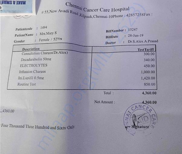 Chemotherapy bill
