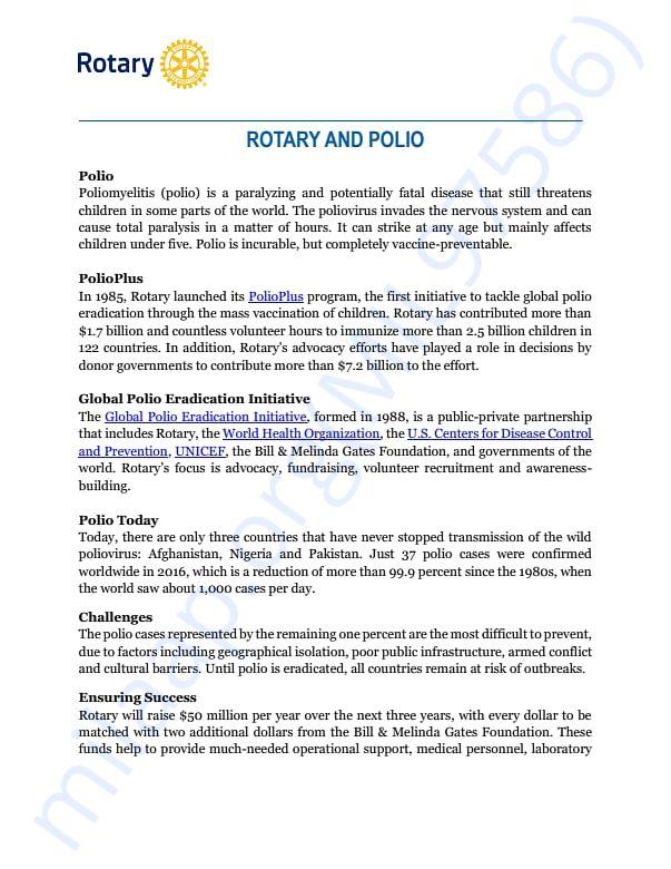 Polio fact sheet