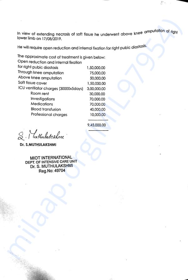 Mohan raj medical report and estimated cost