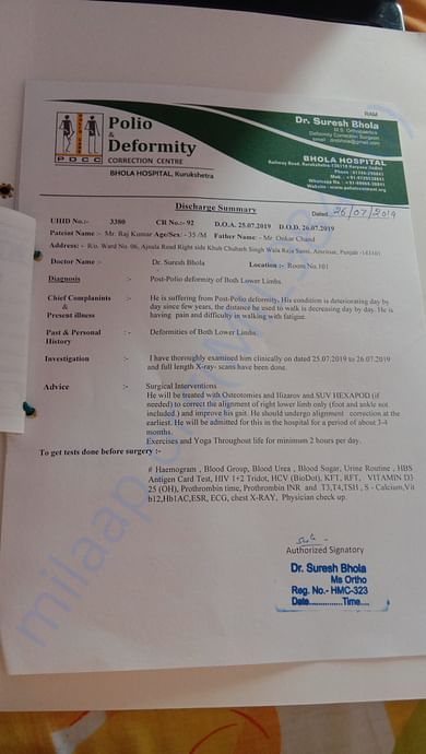 Medical report about polio deformity treatment.
