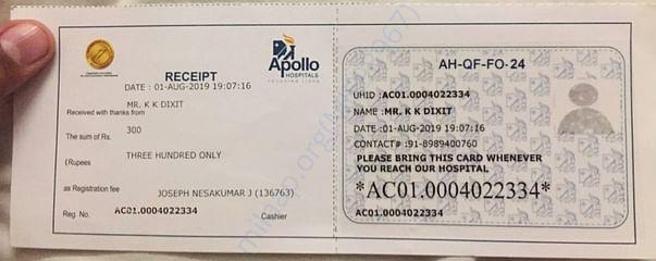 Apollo Hospital admission receipt