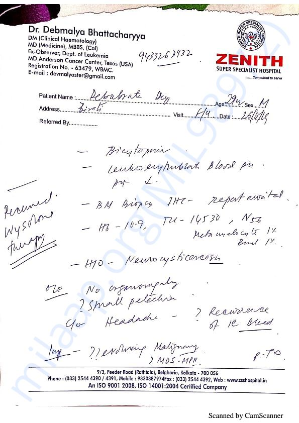 Doctor Debmalya Bhattacharya report