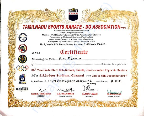 GOT GOLD MEDAL IN 36th TAMIL NADU STATE CHAMPIONSHIP IN CHENNAI