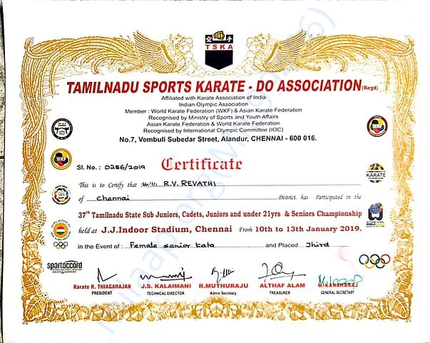 GOT BRONZE MEDAL IN 37TH TAMIL NADU STATE LEVEL IN 2018