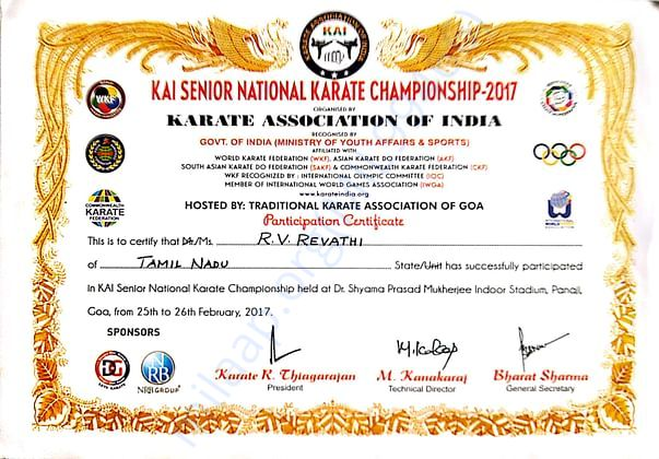GOT SELECTED FOR KAI SENIOR NATIONAL LEVEL IN 2017 IN KOLKATA