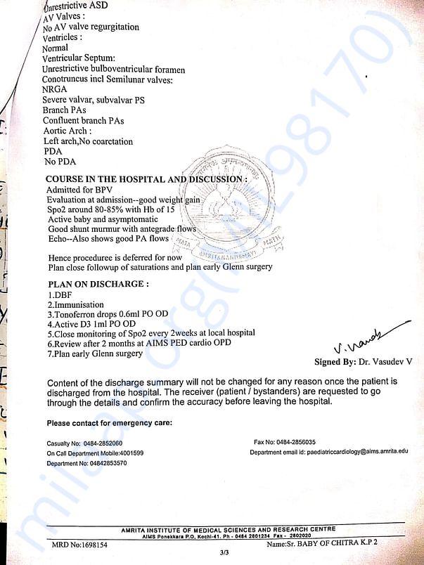 Further followup at Amtita hospital 3 about Glenn Surgery
