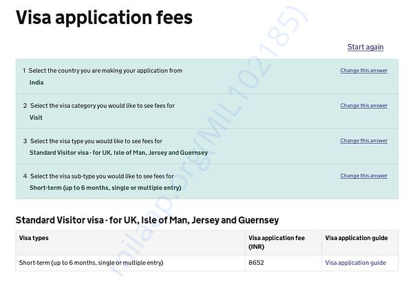 Visa cost for one person