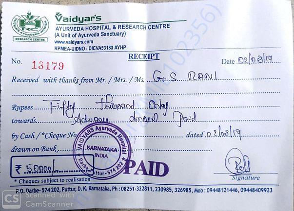 Vaidyar's Ayurveda Hospital- Advance Payment