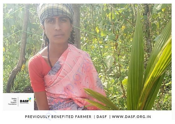A Poor woman farmer DASF has helped and Supporting